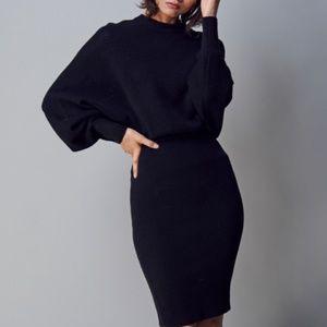 All Saints Gene Dress Merino Wool Knit Black Small